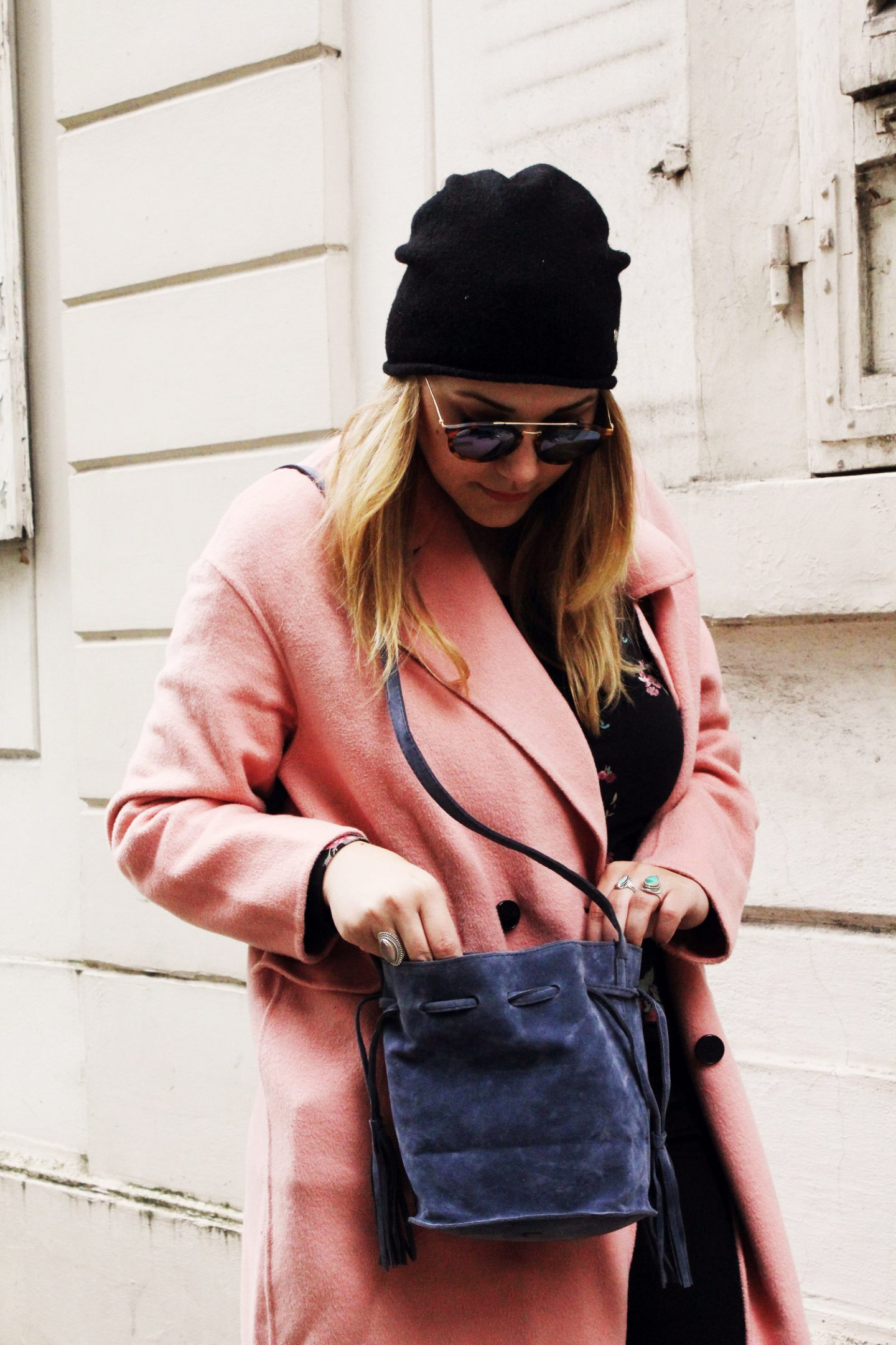 outfit: Pink Coat & Reebok Melted Metal